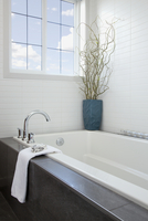 Bathtub in contemporary bathroom