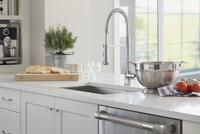 Gooseneck spring faucet in domestic kitchen 11096026671| 写真素材・ストックフォト・画像・イラスト素材|アマナイメージズ