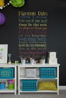 Rules written on blackboard in playroom
