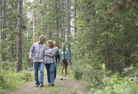 Middle-aged friends walking through forest