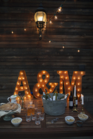 Wedding decorations surrounding beverages and snacks at wedding reception
