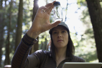 Volunteer examining tree specimen in bottle in woods