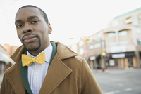 Portrait of confident man on city street