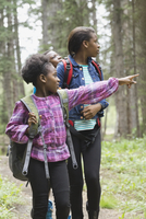 Siblings walking through forest