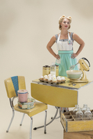 Portrait of pin-up housewife