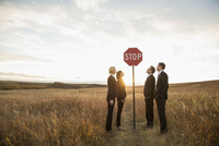 Business people looking at stop sign in field