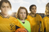 Portrait of confident soccer players