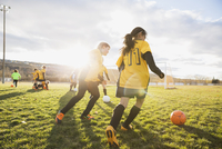 Girls practicing soccer drills on field 11096037920| 写真素材・ストックフォト・画像・イラスト素材|アマナイメージズ