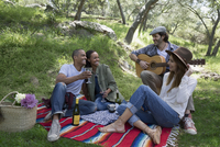 Friends enjoying picnic playing guitar in woods