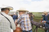 Senior cattle ranchers talking near branding iron fire