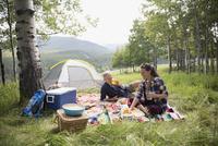 Senior couple enjoying picnic on blanket at rural campsite