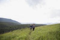 Senior couple hiking in remote rural field 11096045172| 写真素材・ストックフォト・画像・イラスト素材|アマナイメージズ