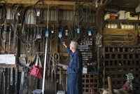 Senior male mechanic checking equipment hanging on wall in workshop