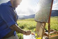 Male painter painting sunflowers in sunny idyllic rural field 11096046077| 写真素材・ストックフォト・画像・イラスト素材|アマナイメージズ