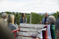 Vintner giving vineyard tour