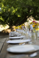 Placesettings in a row for harvest dinner on long patio table