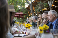 Friends enjoying outdoor harvest dinner party at long patio table 11096046185| 写真素材・ストックフォト・画像・イラスト素材|アマナイメージズ
