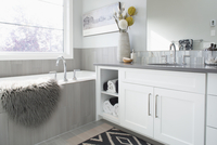 Elegant, modern home showcase interior bathroom 11096047365| 写真素材・ストックフォト・画像・イラスト素材|アマナイメージズ