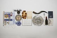 Overhead still life Hanukkah symbols and traditional items