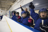 Boy and girl ice hockey players cheering, watching game from bench 11096050527| 写真素材・ストックフォト・画像・イラスト素材|アマナイメージズ