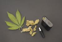 Knolling of marijuana leaves, buds and vaporizer 11096053799| 写真素材・ストックフォト・画像・イラスト素材|アマナイメージズ