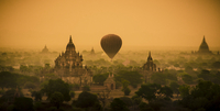 Hot air balloon floating over ancient city, Bagan, Myanmar