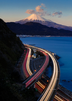 Fuji with Japan's transport in twilight