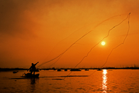 Silhouette of man throwing fishing net into water