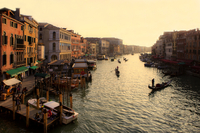 View of canal with gondolas
