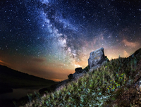 Milky Way on sky over landscape at night
