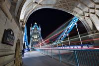 Light trails on Tower Bridge, London, England, UK
