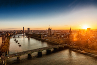 Aerial view of Big Ben and River Thames, London, England, UK