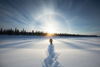 Silhouette of adult man walking through snow