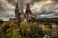 Corvin Castle against overcast sky, Hunedoara, Romania