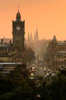 Cityscape of Princes Street at sunset, Edinburgh, Scotland, UK