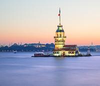View of illuminated Maiden's Tower, Bosphorus, Turkey