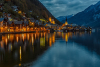 Cityscape and lake at twilight, Hallstat, Austria