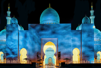 View of The Sheikh Zayed Grand Mosque at night