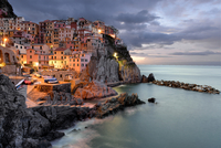 Cityscape at dusk, Cinque Terre, Italy