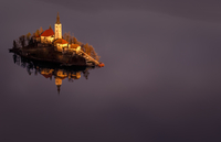 Aerial view of church on island on Lake Bled, Slovenia