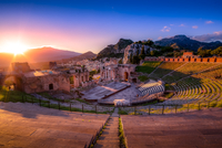 View of ancient ruins at sunrise
