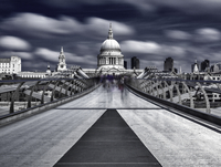 Millennium Bridge with Saint Paul's Cathedral in background, London, England, UK