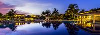 Melia Cayo Santa Maria resort reflecting in pond, Cayo Santa Maria, Cuba