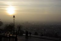 Foggy view of Paris, France