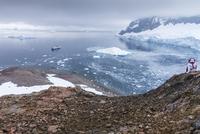 Person looking at view of Neko Harbor, Antarctica