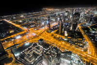 Light trails on streets, Burj Khalifa, Dubai, United Arab Emirates