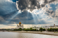 Landscape with view on Cathedral of Christ Saviour, Moscow, Russia