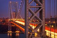 George Washington Bridge at night, Manhattan, New York City, New York, USA