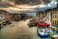 Landscape of boats in row, Grand Canal, Venice, Italy