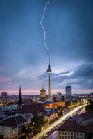 Lightning striking Berlin Television Tower, Berlin, Germany